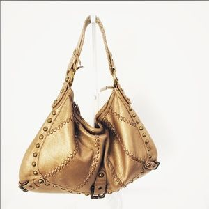 Isabella Fiore Gold Leather Hobo Vintage Purse Bag